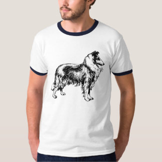 Collie rough dog line art mens blue t-shirt