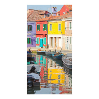 Color houses in Venice island Burano Italy Customized Photo Card