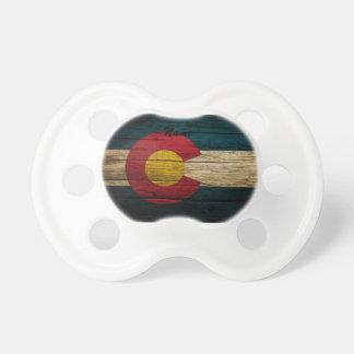 Colorado Flag Rustic Old Wood Pacifier