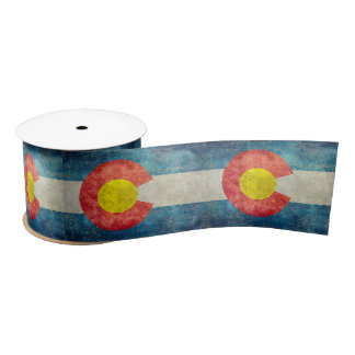 Colorado State flag with vintage retro grungy look Satin Ribbon