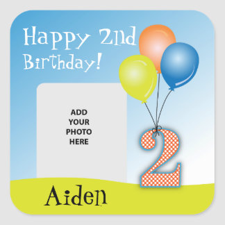 Colored Balloons Child's 2nd Birthday Photo Square Sticker
