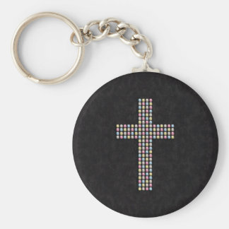 Colored Gem Cross Basic Round Button Key Ring