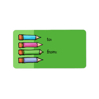 Colored Pencils green Gift Tag Address Label