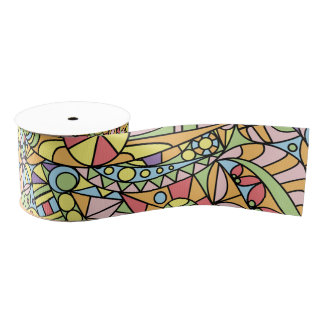 Colorful Abstract Doodle Fantasies Pattern Grosgrain Ribbon