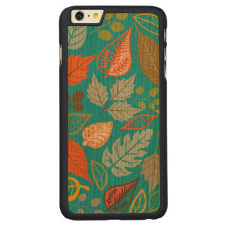 Colorful Abstract Fall Leafs Green Background Carved® Cherry iPhone 6 Plus Case