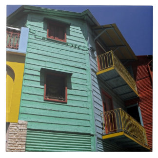 Colorful architecture of La Boca neighborhood Large Square Tile