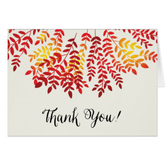 Colorful Autumn Leaf Thank You Note Card