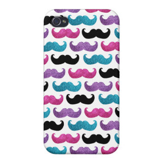 Colorful bling mustache pattern (Faux glitter) Case For The iPhone 4