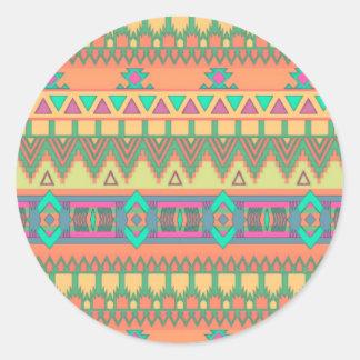 Colorful Chevron Zig Zag Tribal Aztec Ikat Pattern Round Sticker