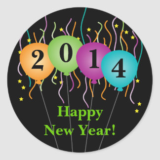 Colorful Confetti & Balloons Happy New Year Round Sticker