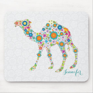 Colorful Cute Floral Camel & White Damasks Mouse Pad