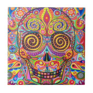 Colorful Day of the Dead Skull Ceramic Tile