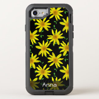Colorful Flowers on any Color any Text OtterBox Defender iPhone 7 Case
