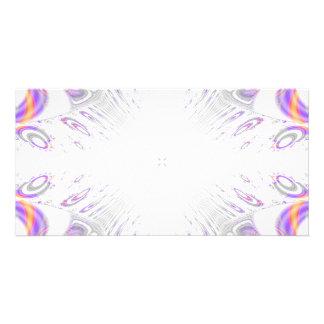 Colorful fun pattern. White, Purple, Orange. Custom Photo Card
