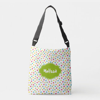 Colorful Fun Polka Dotted Customized Add Name Bag Tote Bag