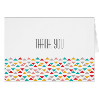 Colorful Geometric Triangle Hearts Wedding Note Card