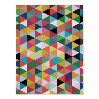 Colorful Geometric Triangle Patterned Poster