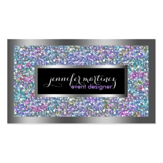 Colorful Glitter & Sparkles Silver Accents Pack Of Standard Business Cards