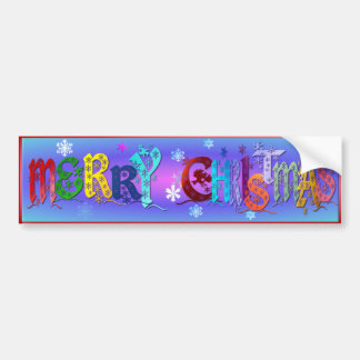 Colorful Merry Christmas Bumper Sticker