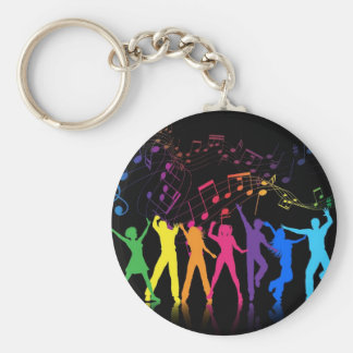 Colorful Musical Notes and Dancers Basic Round Button Key Ring