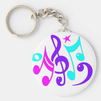 Colorful Musical Notes Basic Round Button Key Ring