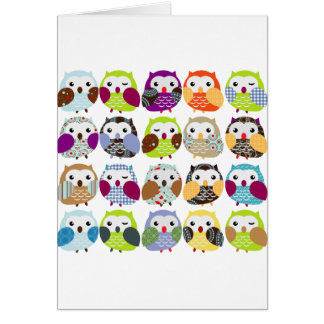 Colorful Owl Pattern Greeting Card