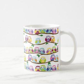 Colorful owls on a branch basic white mug