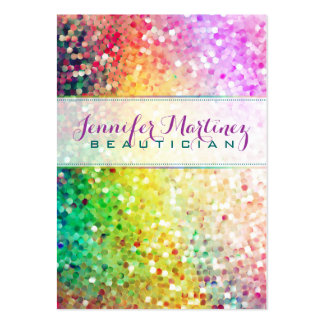 Colorful Pastel Glitter Beautician 2 Business Card