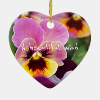 Colorful Pink and Yellow Pansy Flower Ceramic Heart Decoration