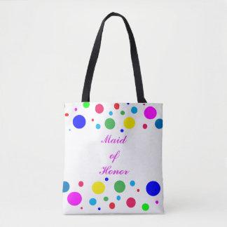 Colorful Polka Dot Maid of Honor Wedding Tote Bag