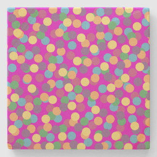 Colorful Polka Dots on Purple Stone Beverage Coaster