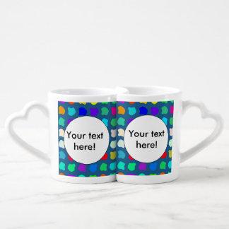 Colorful shapes abstract design lovers mug sets