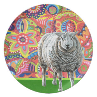 Colorful Sheep Art Plate
