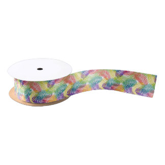 Colorful Stylized Tropical Leafs Seamless Pattern Satin Ribbon