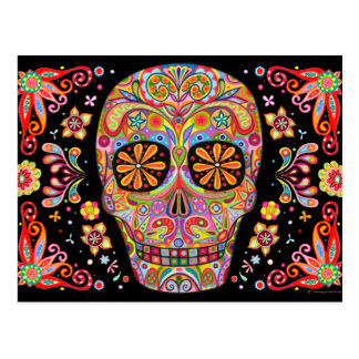 Colorful Sugar Skull Art Postcard