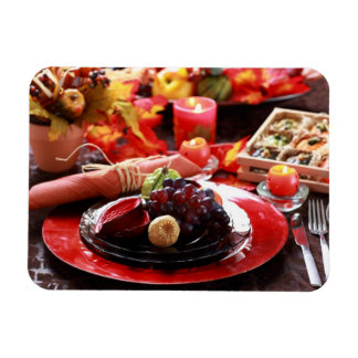 Colorful table decorated for Thanksgiving Rectangular Photo Magnet