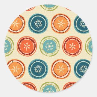 Colorful Vintage snowflakes Round Sticker
