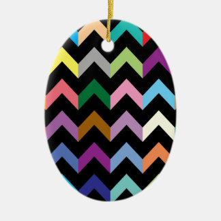 Colorful zigzag pattern ceramic oval decoration