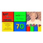 Colourful Look Whos Turning 70 Birthday Invite Picture Card