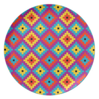 Colourful Primitive Mayan Bricks Pattern Party Plate