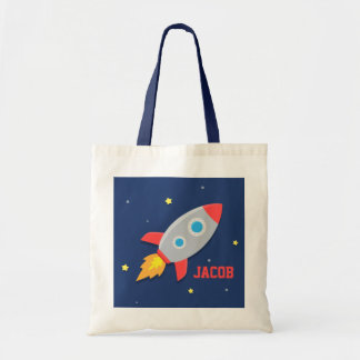 Colourful Rocket Ship, Outer Space, For Boys Budget Tote Bag
