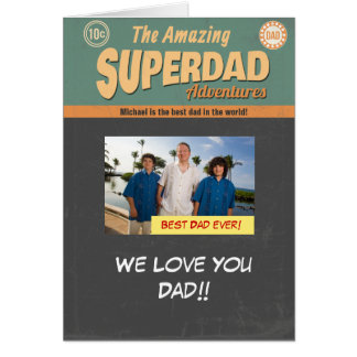 Comic Book Photo Card, Father's Day Birthday Greeting Card