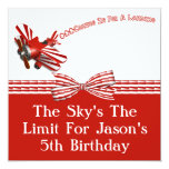 Coming In For Landing Aeroplane Birthday 13 Cm X 13 Cm Square Invitation Card