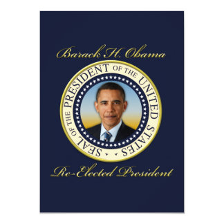 Commemorative President Barack Obama Re-Election 13 Cm X 18 Cm Invitation Card