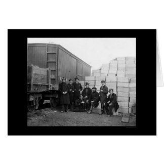 Commissary Clerks by a Railroad Car 1863 Greeting Card