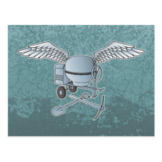 Concrete mixer blue-gray postcard