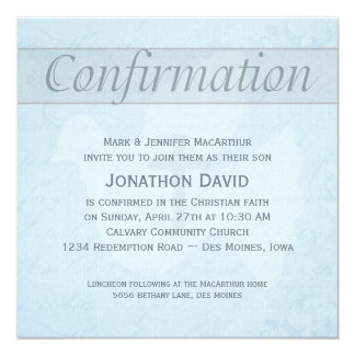 Confirmation Holy Spirit Dove and Cross Blue 13 Cm X 13 Cm Square Invitation Card