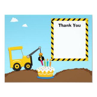 Construction Birthday Party Thank You Card 11 Cm X 14 Cm Invitation Card