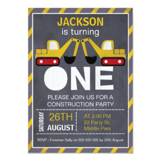 Construction Chalkboard 1st Birthday Invitation