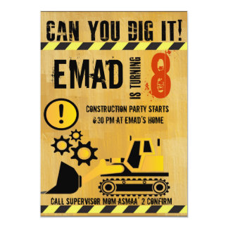 Construction theme brithday party invitation
